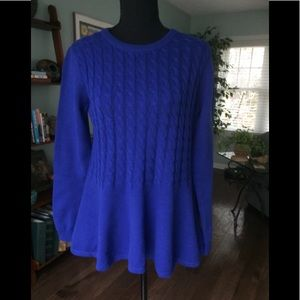 Beautiful cobalt blue sweater with peplum.